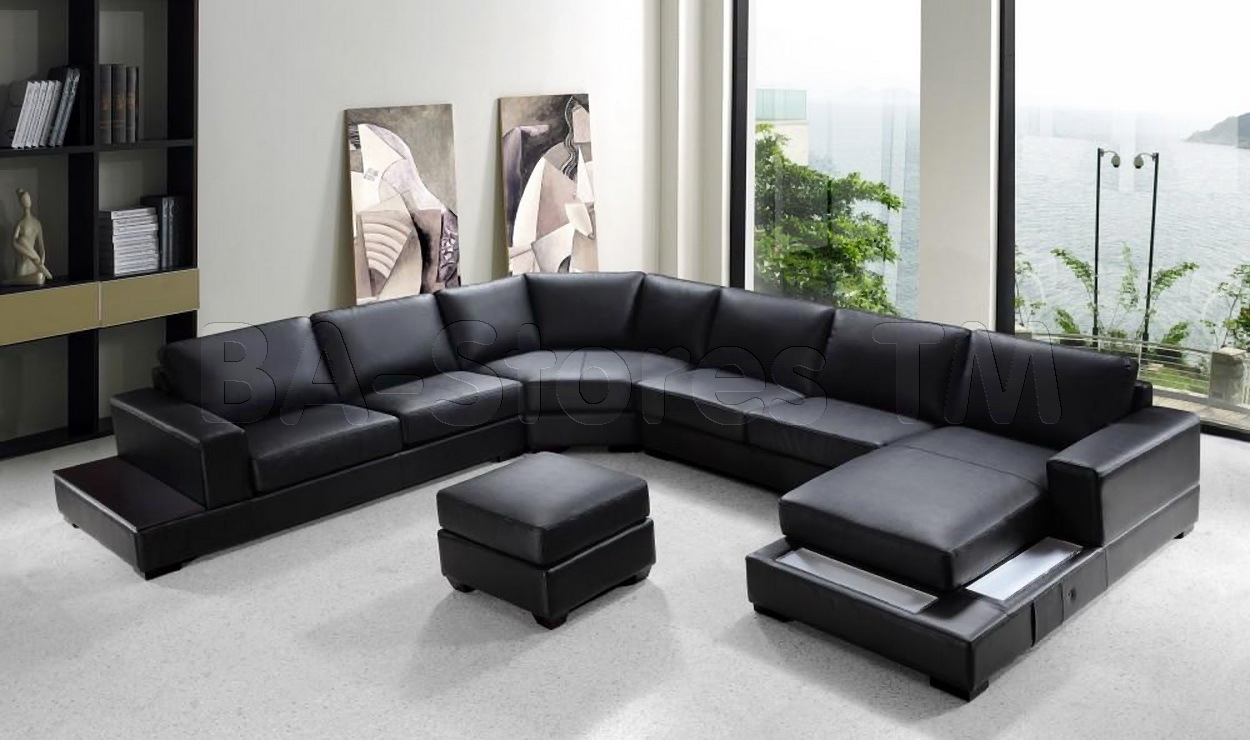Sofas Center Modern Black Leatherfa Set Frightening Images Throughout Dobson Sectional Sofa (Image 15 of 15)