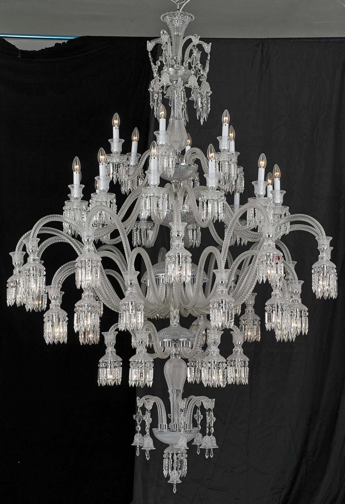 Sol 48 Light Baccarat Inspired Chandelier With Regard To Murano Chandelier Replica (Image 13 of 15)