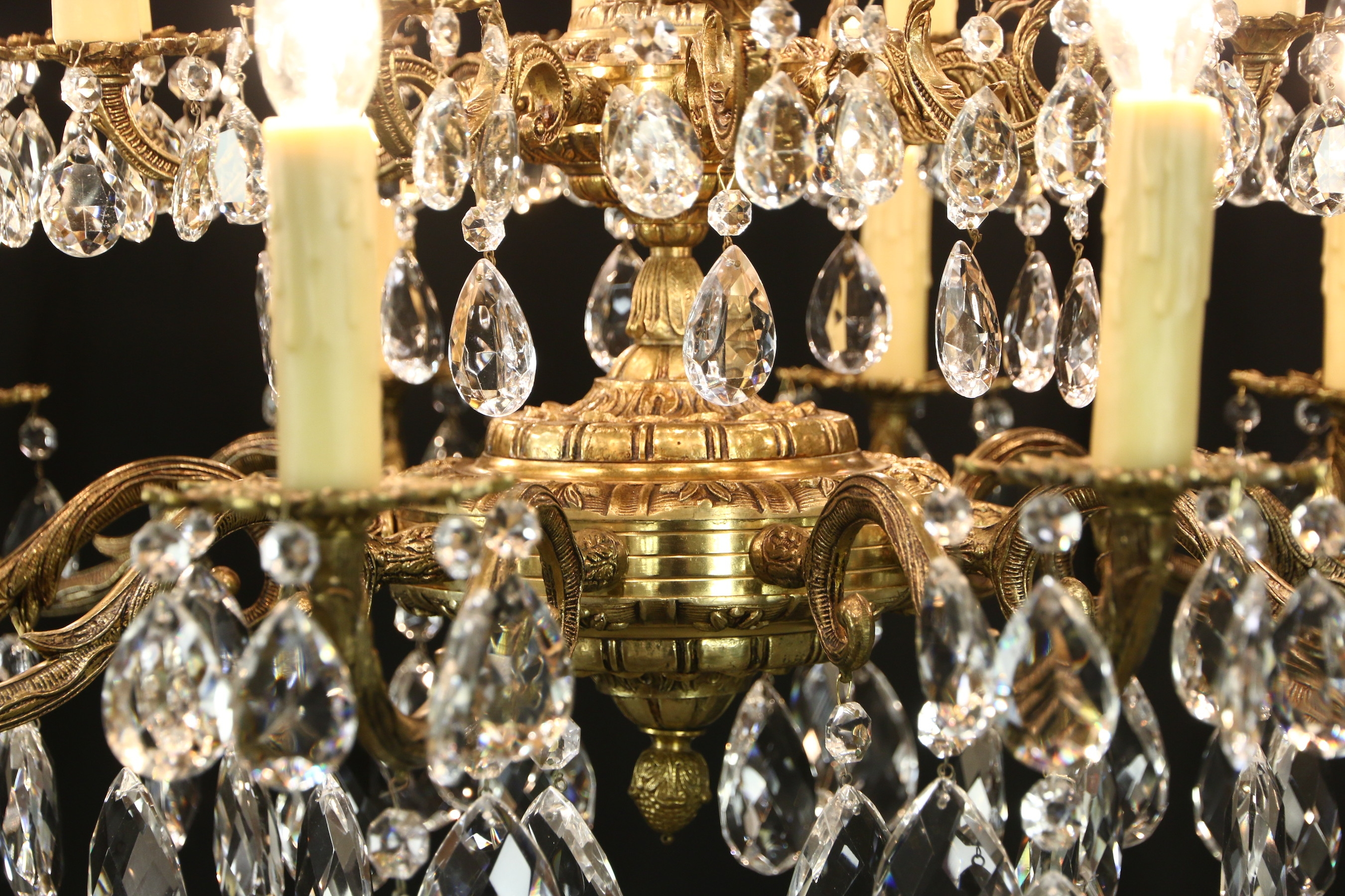 Sold Embossed Brass Cut Crystal 20 Light Candle Vintage Throughout Vintage Brass Chandeliers (Image 9 of 15)