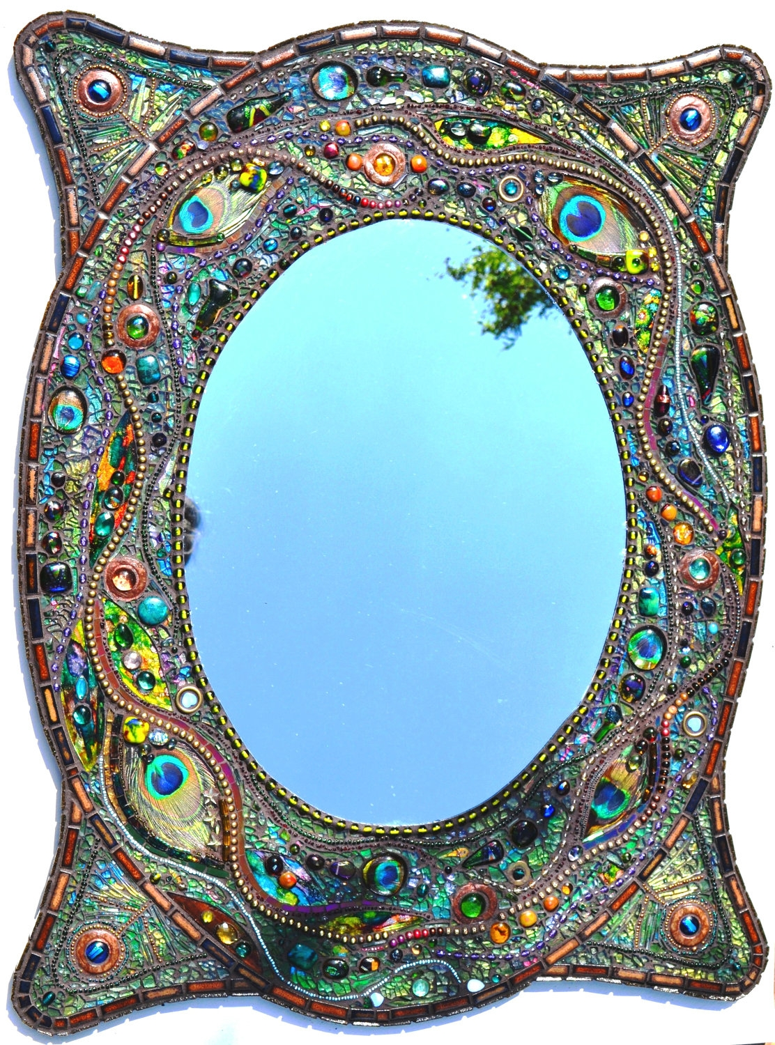 Sold Mosaic Peacock Mirror Mosaic Art Real Peacock Feather Within Large Mosaic Mirrors (Image 14 of 15)
