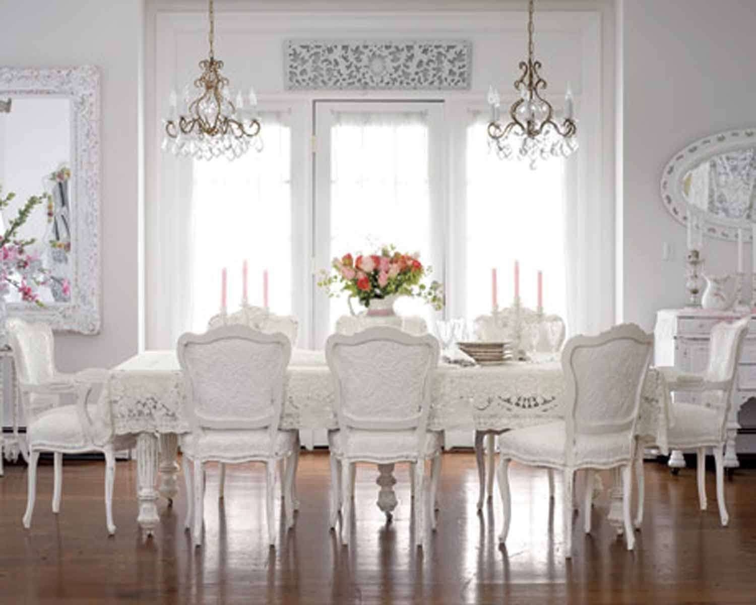 Soothing Shab Chic Dining Room With White Walls And Small With Regard To Small Shabby Chic Chandelier (Image 15 of 15)