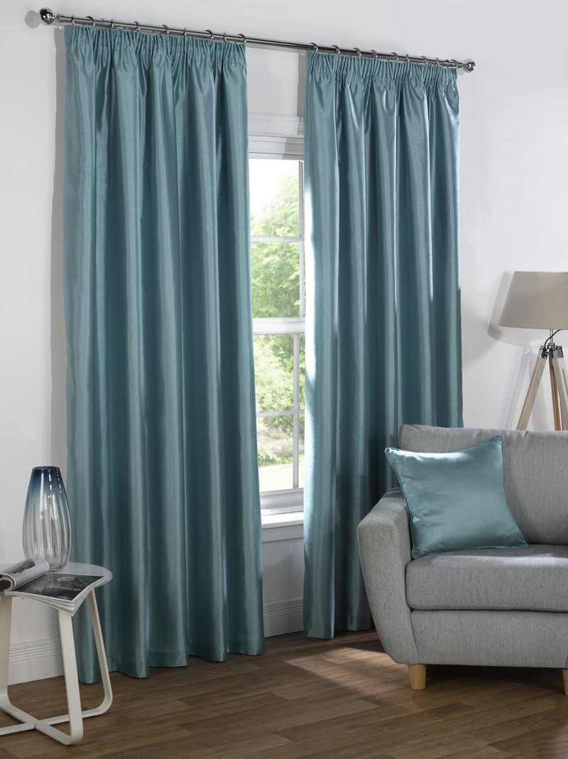 Sophia Faux Silk Blackout Curtains Free Uk Delivery Terrys Fabrics Within Duck Egg Blue Blackout Curtains (Image 15 of 15)