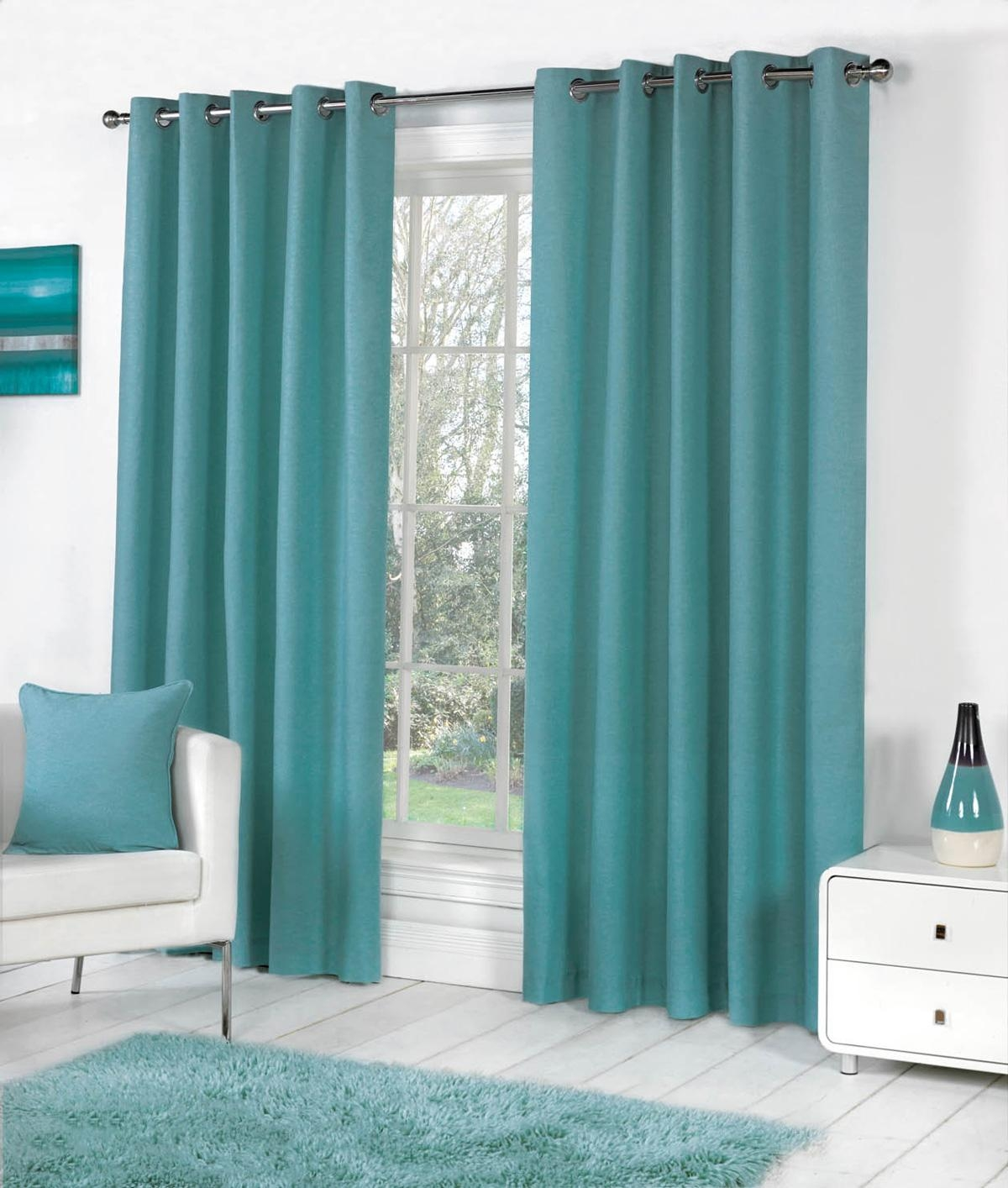 Sorbonne Eyelet Curtains In Teal Free Uk Delivery Terrys Fabrics Intended For Long Eyelet Curtains (Image 14 of 15)