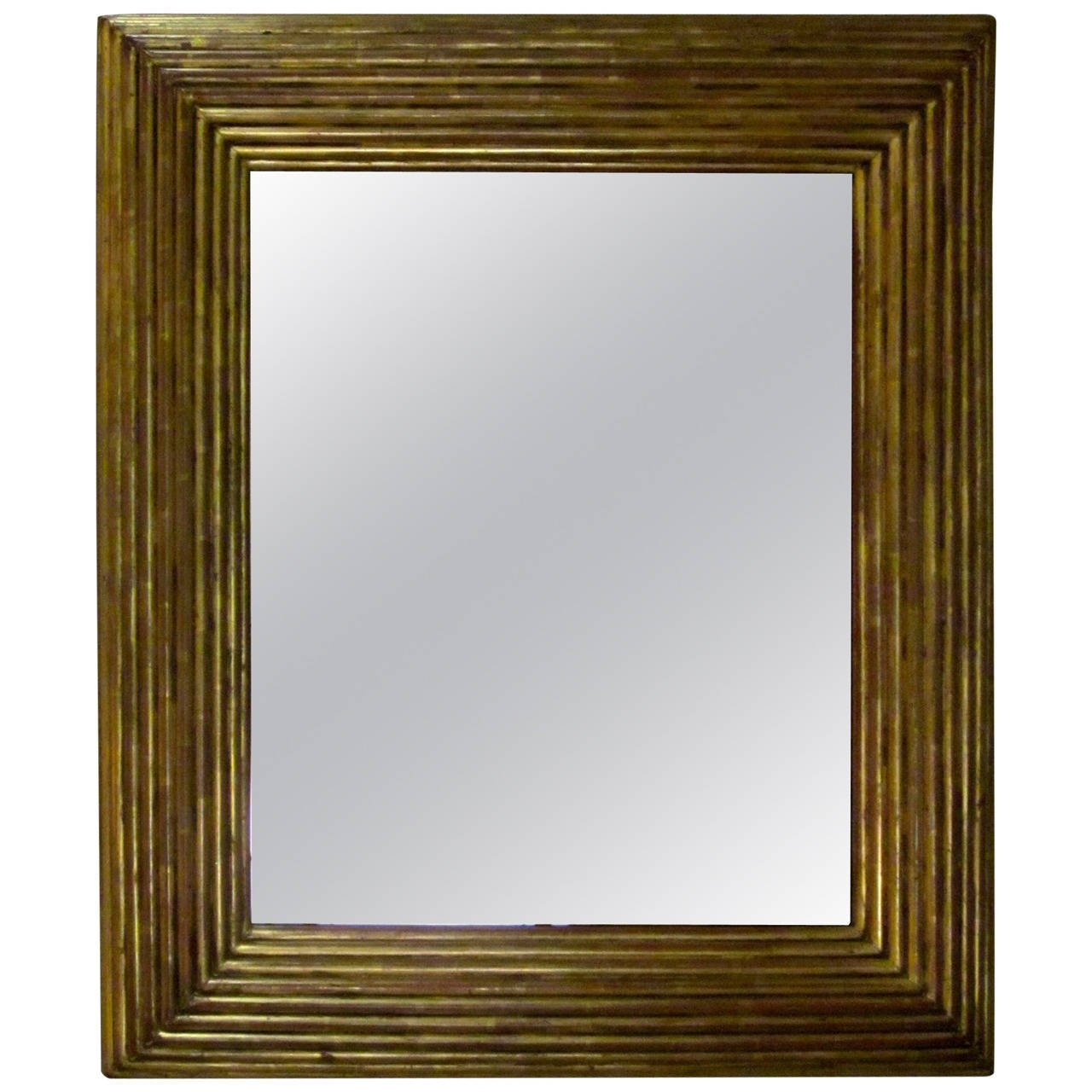 Spanish Gold Gilt Ribbed Wood Frame Mirror Circa 19th Century For For Gold Gilt Mirrors (Image 14 of 15)