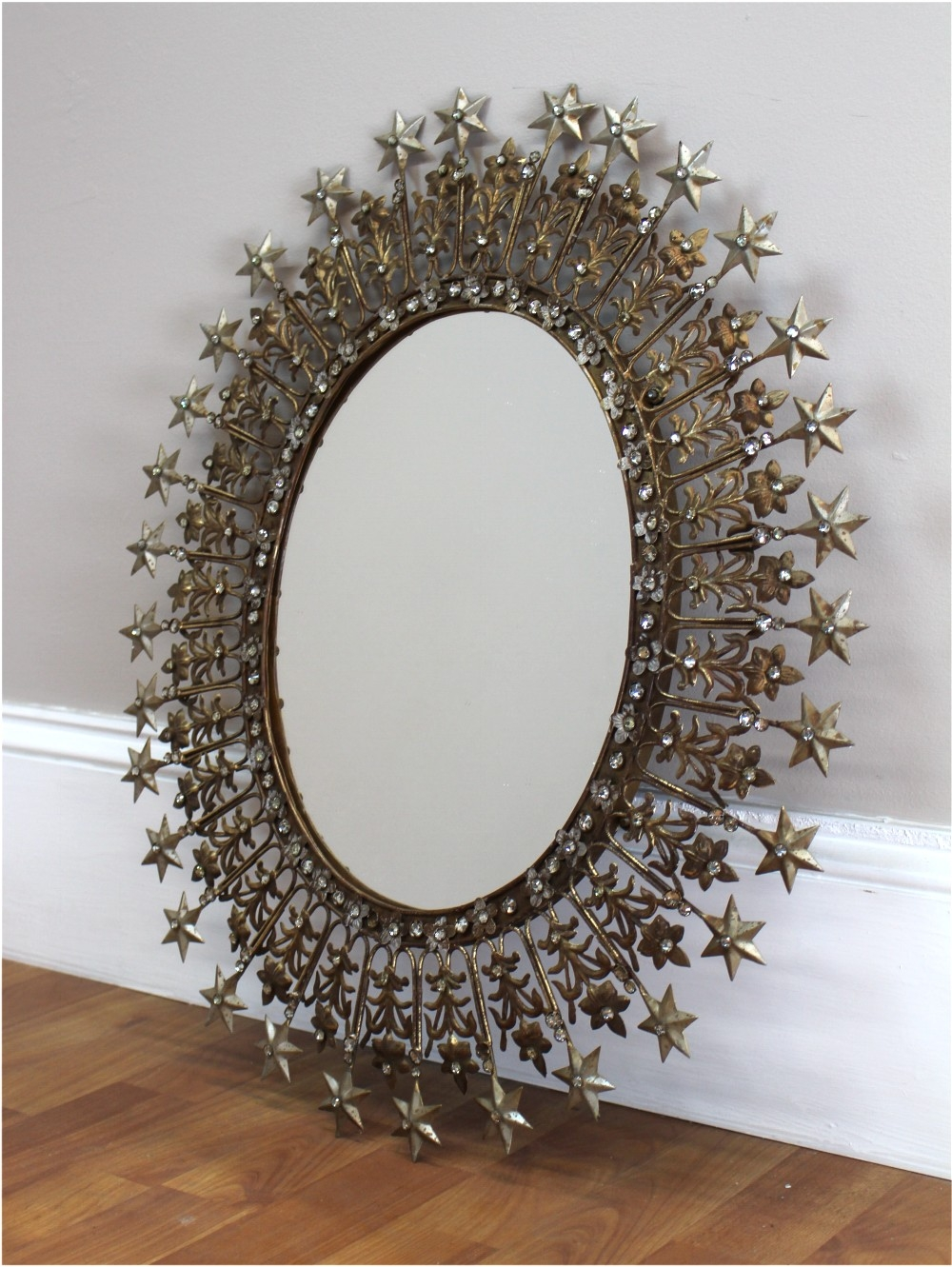 Sparkling Rhinestone And Shooting Stars Mirror Pressed Tin And Gold With Regard To Pressed Tin Mirrors (Image 12 of 15)
