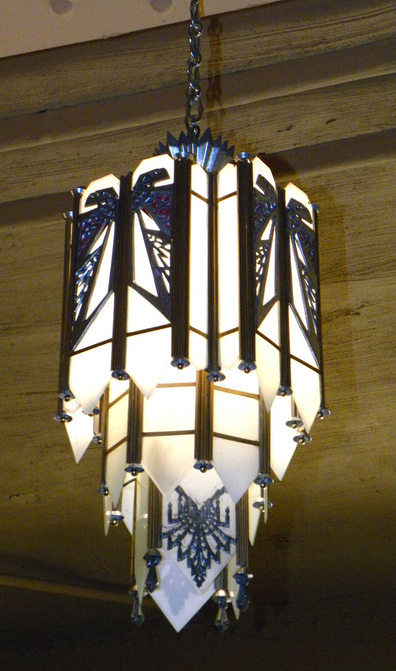 Spectacular Art Deco Zig Zag Movie Theater Chandelier At 1stdibs In Art Deco Chandelier (Image 13 of 15)