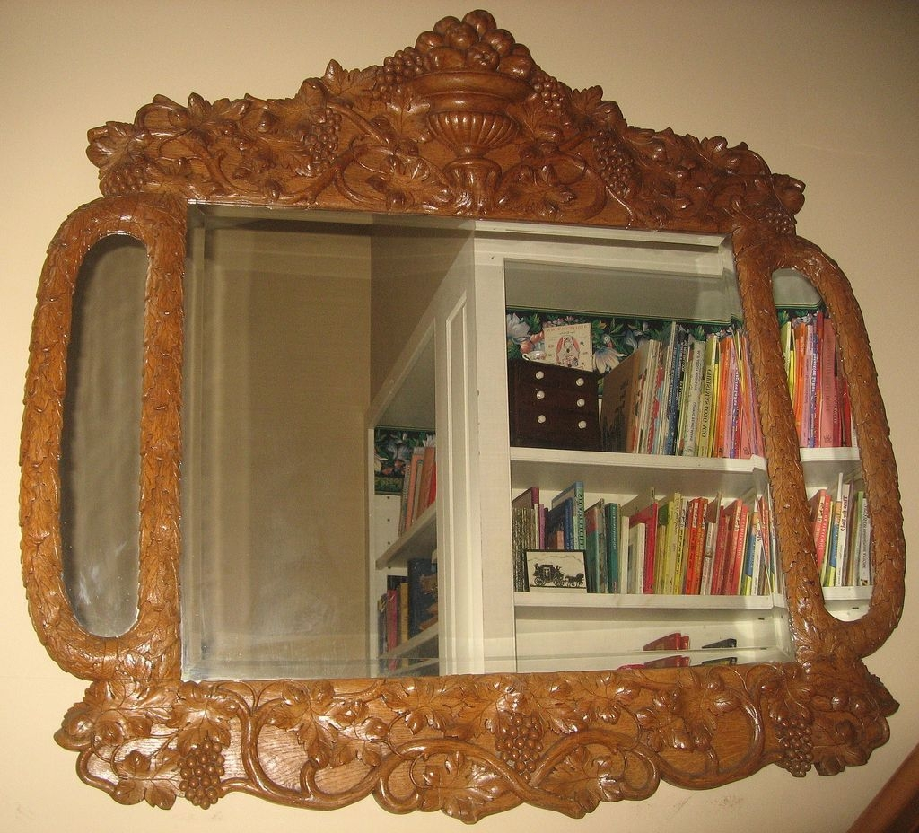 Spectacular Large Carved Fruitwood Antique Mirror From Pfantiques Pertaining To Large Antique Mirror (Image 15 of 15)