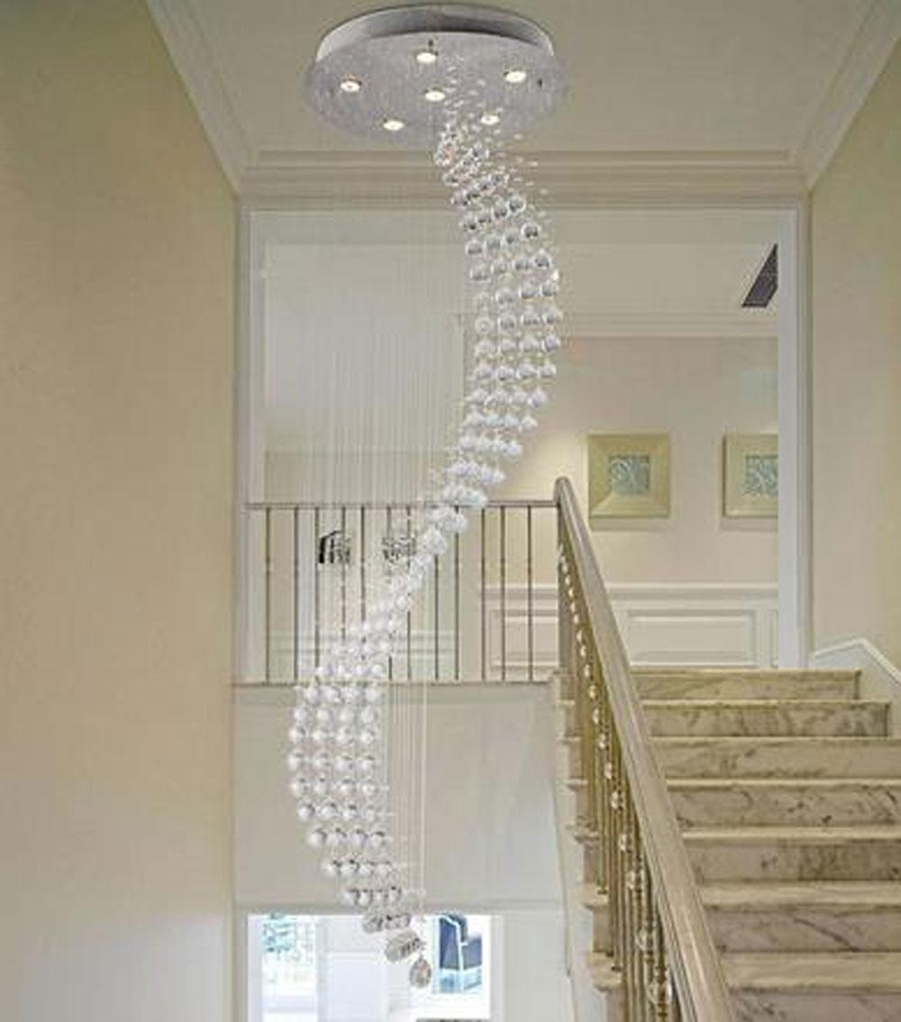 Spiral Rain Drop Chandelier Modern Crystal Chandeliers Lighting With Regard To Staircase Chandeliers (Image 14 of 15)