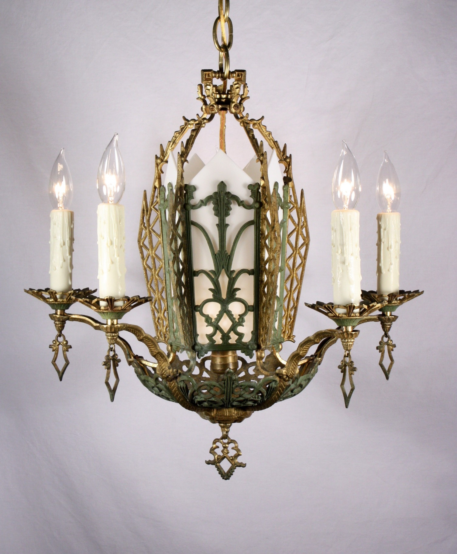 Splendid Antique Six Light Cast Brass Art Deco Chandelier With Throughout Art Deco Chandelier (Image 14 of 15)