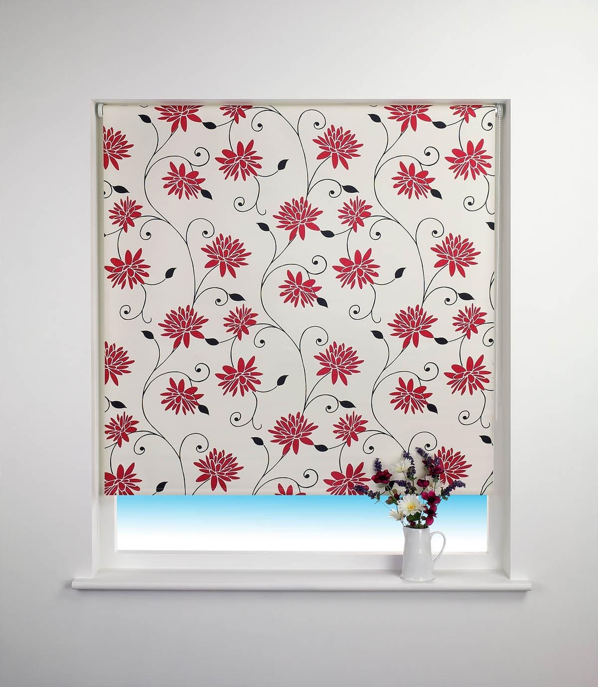 Spring Bloom Blackout Roller Blind Red Free Uk Delivery Terrys Inside Floral Roman Blinds (Image 15 of 15)