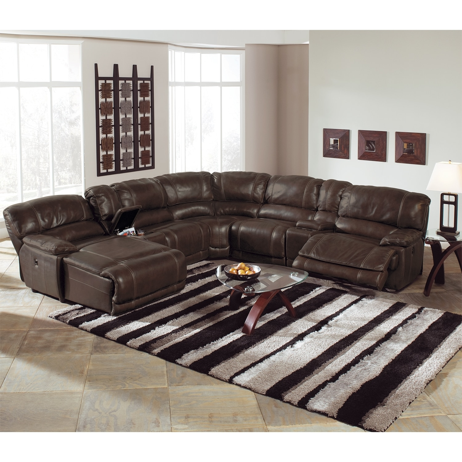 St Malo 6 Piece Power Reclining Sectional With Left Facing Chaise Inside 6 Piece Leather Sectional Sofa (Image 14 of 15)