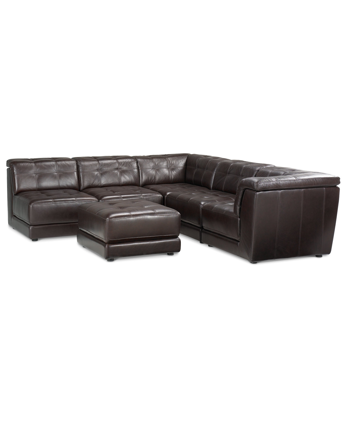 Stacey Leather 6 Piece Modular Sectional Sofa 3 Armless Chairs 2 Throughout 6 Piece Modular Sectional Sofa (Image 15 of 15)
