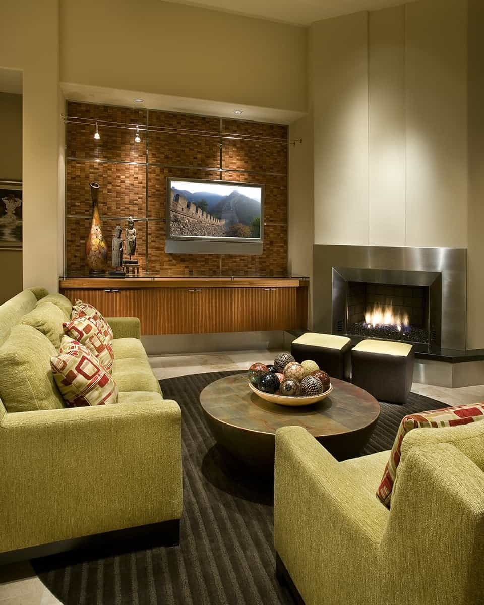 Featured Image of Stainless Steel Fireplace In Modern Sleek Living Room