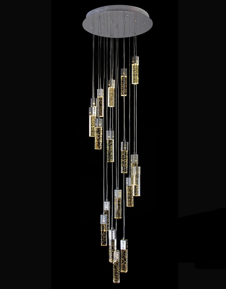Stairwell Led Luminaria Long Bubble Crystal Chandelier Lighting Throughout Long Chandelier (Image 15 of 15)