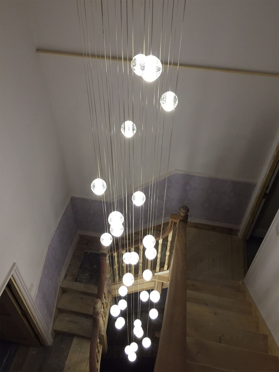 Staiwell Lighting With Stairwell Chandelier (Image 15 of 15)