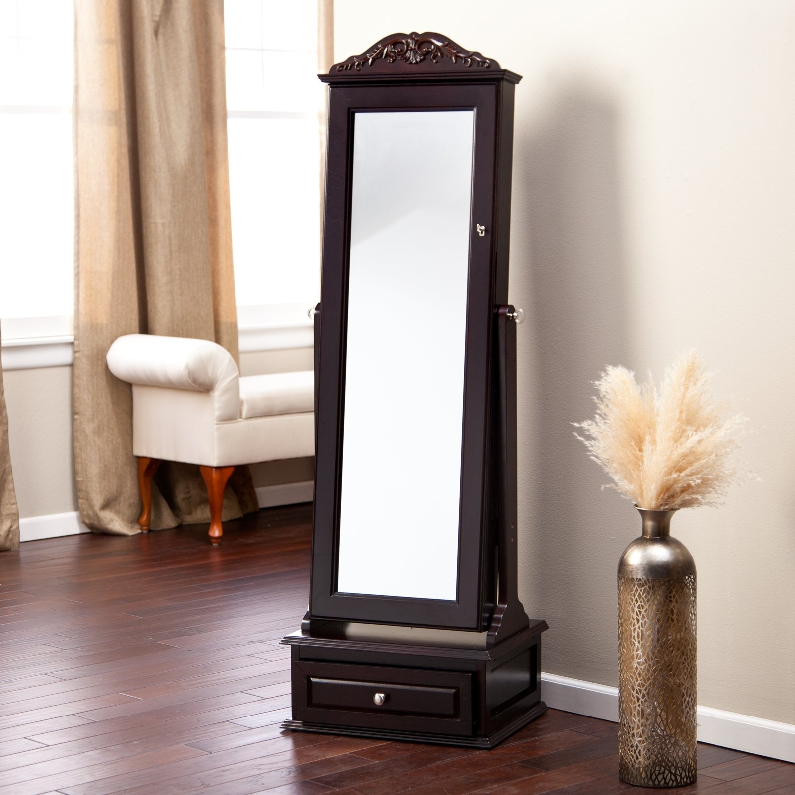 Standing Mirror Jewelry Cabinet Mf Cabinets With Regard To Black Floor Standing Mirror (Image 14 of 15)