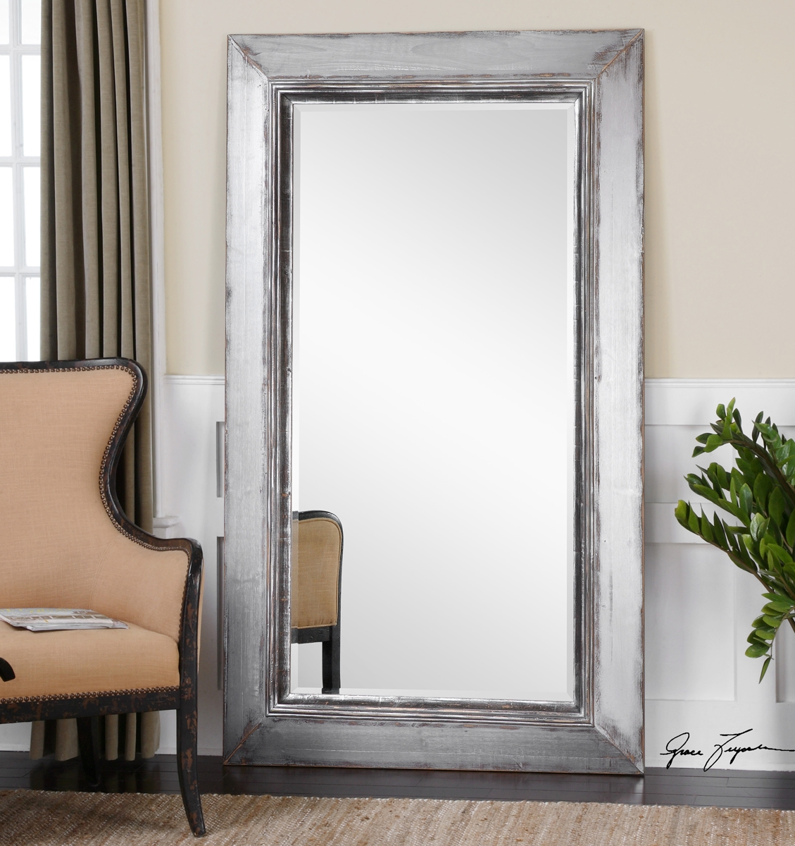 Standing Mirrors Lighting Fixtures Lights And Home Lighting Within Silver Floor Standing Mirror (Image 15 of 15)