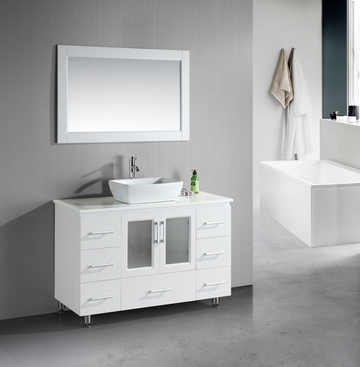 Stanton 48 Inch White Bathroom Vanity Porcelain Vessel Sink In Contemporary White Mirror (Image 12 of 15)