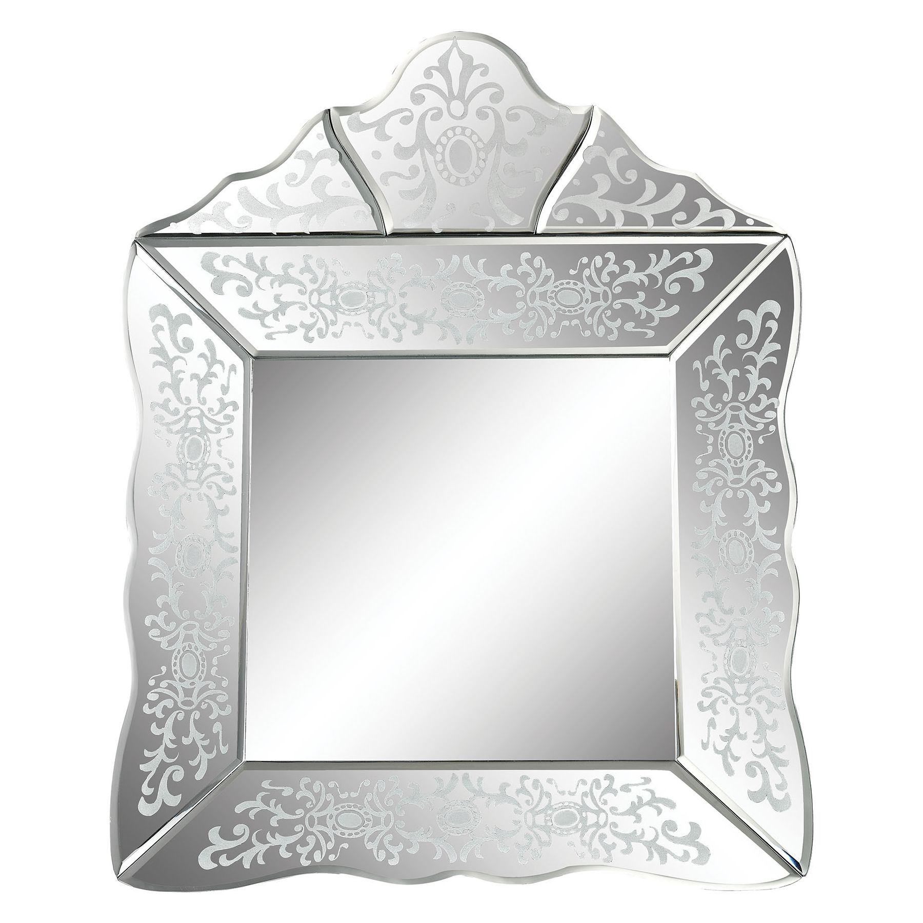 Sterling Industries 1114 154 Small Scroll Trim Square Venetian Mirror For Square Venetian Mirror (Image 13 of 15)