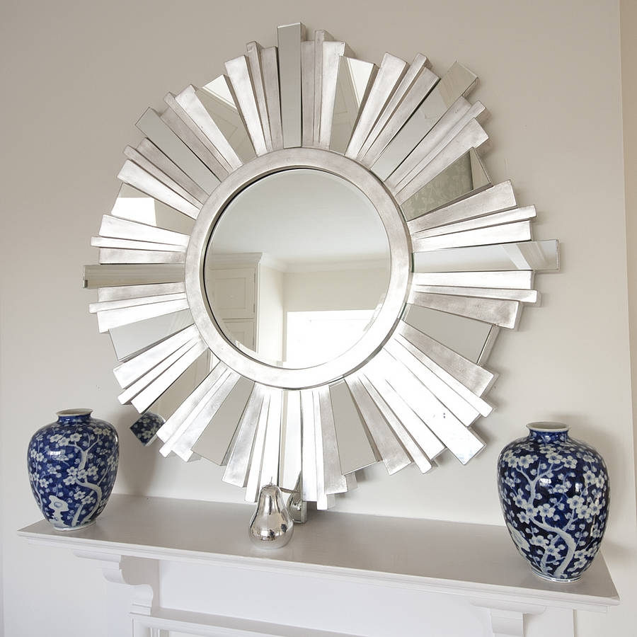 Striking Silver Contemporary Mirror Sunburst Mirror And Hallway For Large Sunburst Mirrors For Sale (Image 10 of 15)