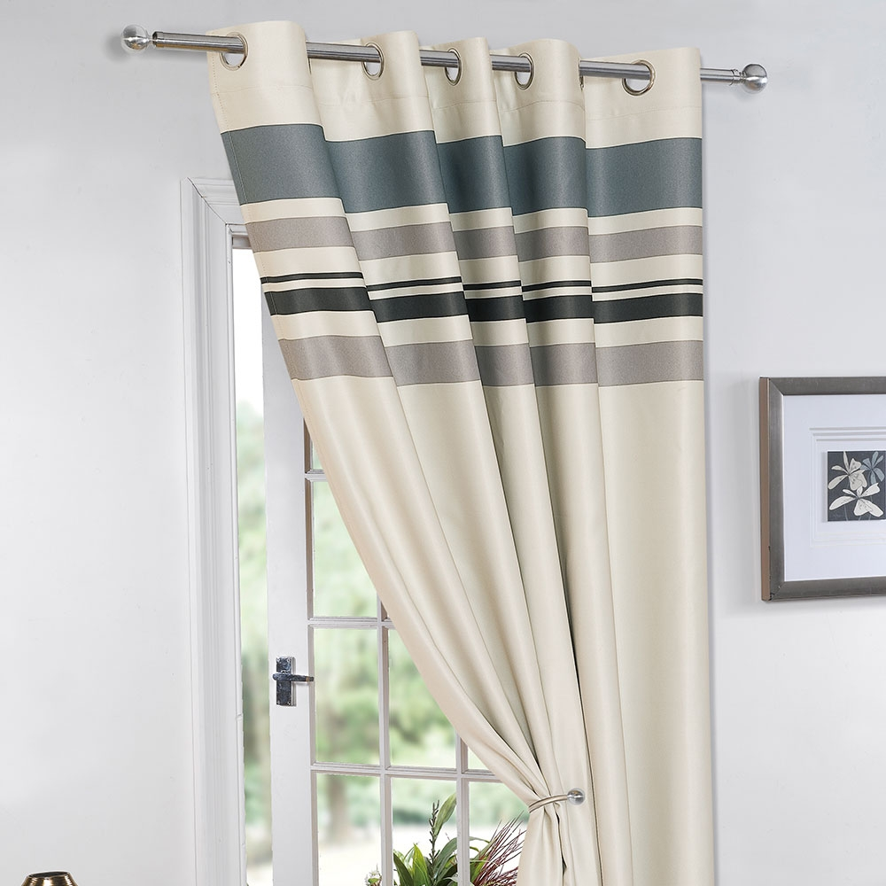 Striped Ring Top Lined Pair Eyelet Ready Made Thermal Blackout With Lined Thermal Curtains (Image 13 of 15)