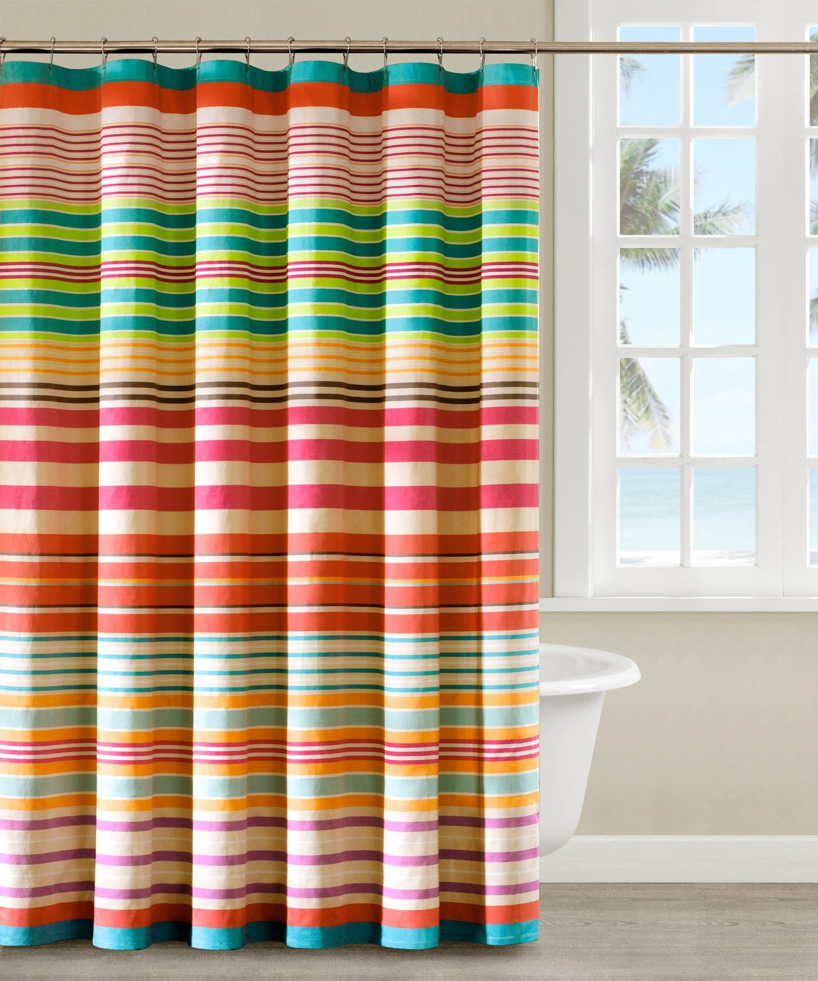 Striped Shower Curtain Multicolor Regarding Multi Coloured Striped Curtains (Image 13 of 15)