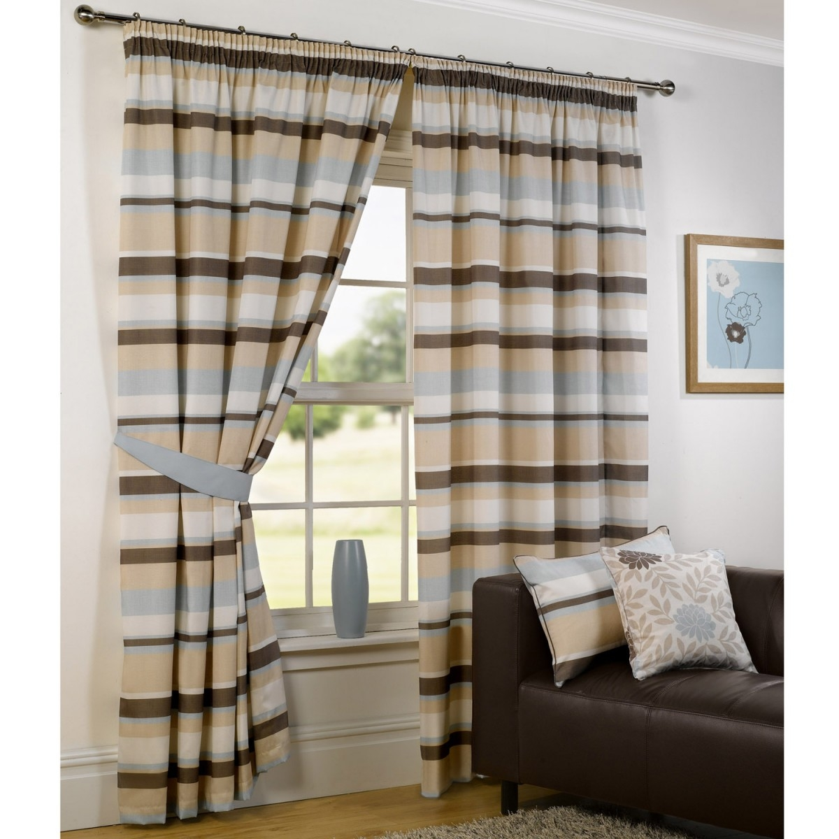 Stripes Design Pencil Pleat Curtains Duck Egg Within Duck Egg Blue Striped Curtains (View 13 of 15)