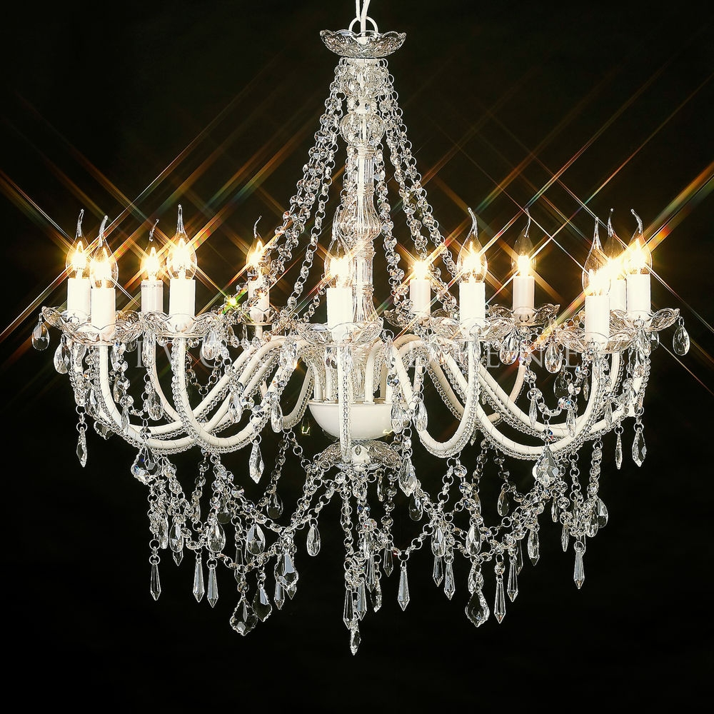 Stunning 12 Arm French Provincial Crystal Chandelier Shab Light With Regard To Large Cream Chandelier (Image 14 of 15)