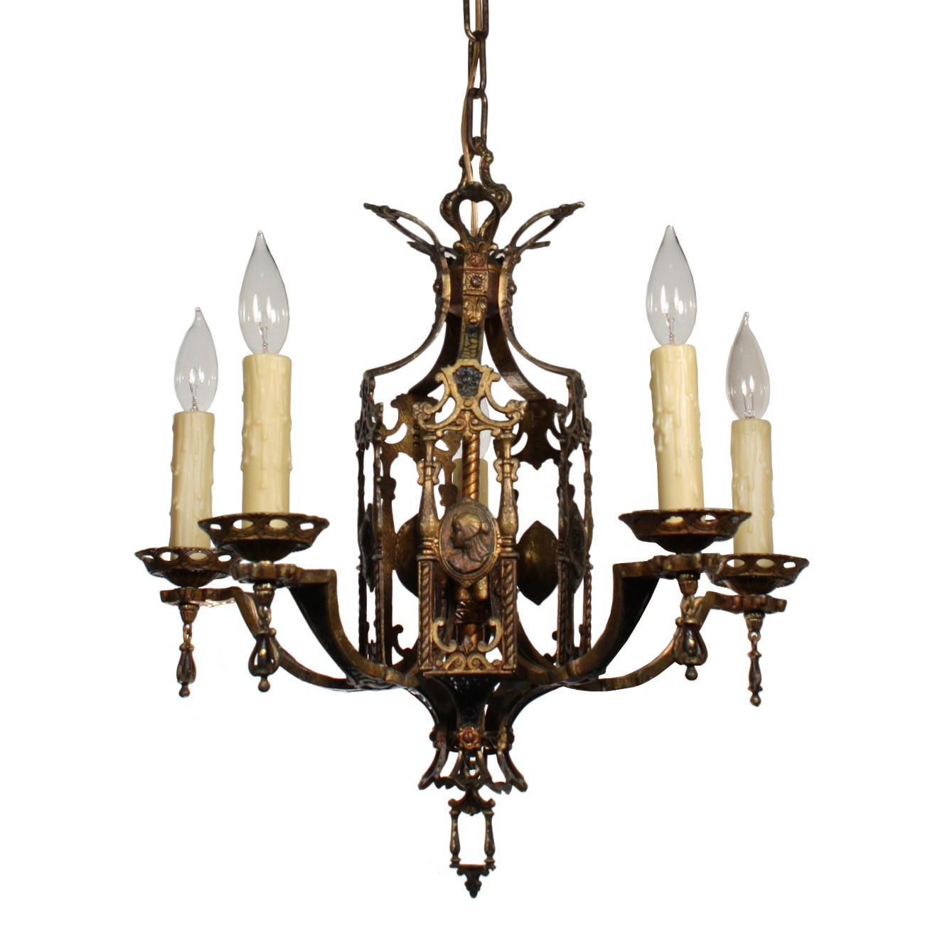 Stunning Antique Egyptian Revival Figural Chandelier With Cameos With Egyptian Chandelier (View 14 of 15)
