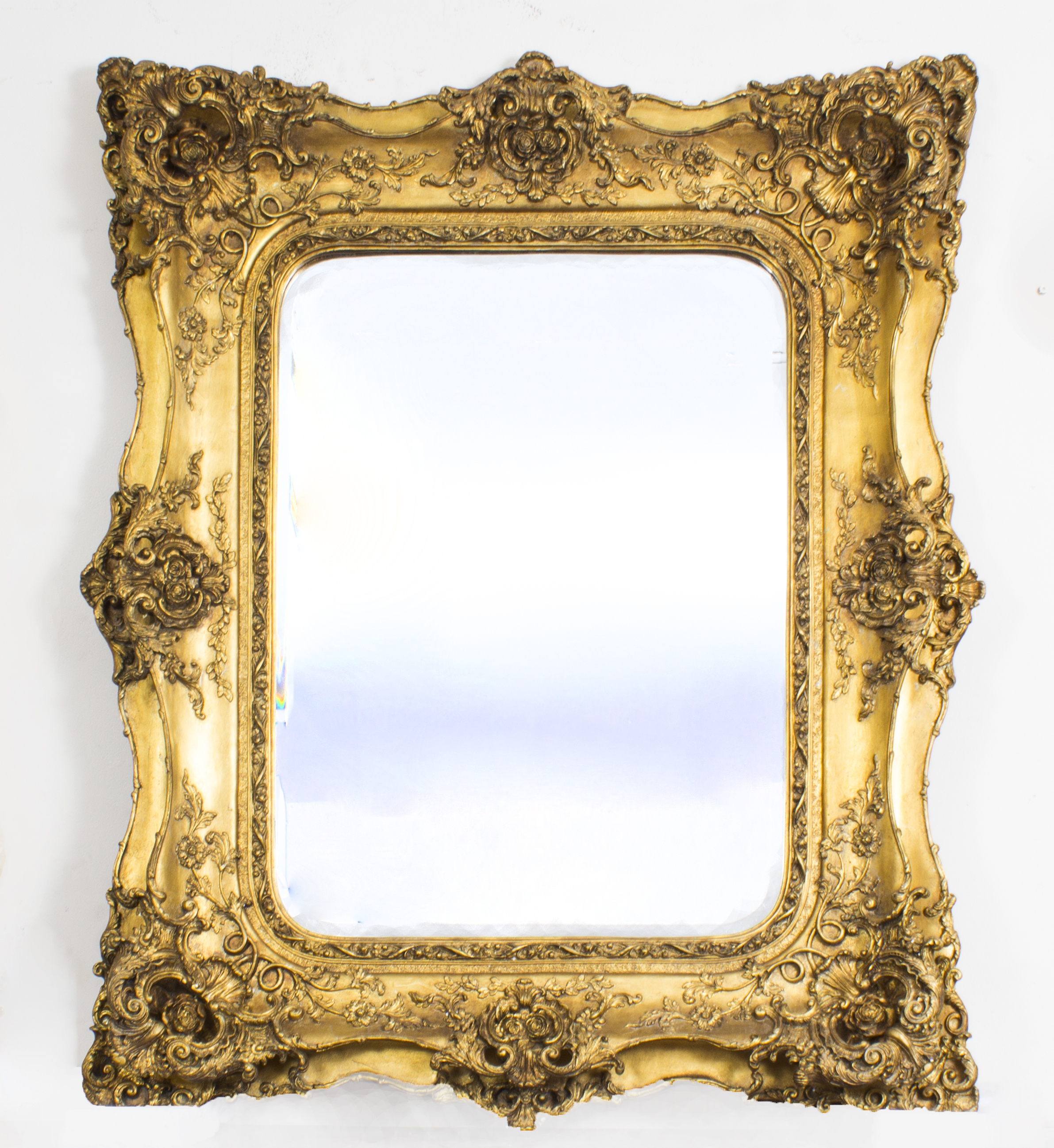 Stunning Large Ornate Italian Gilded Mirror 122 X 101 Cm Throughout Ornate Large Mirrors (Image 12 of 15)