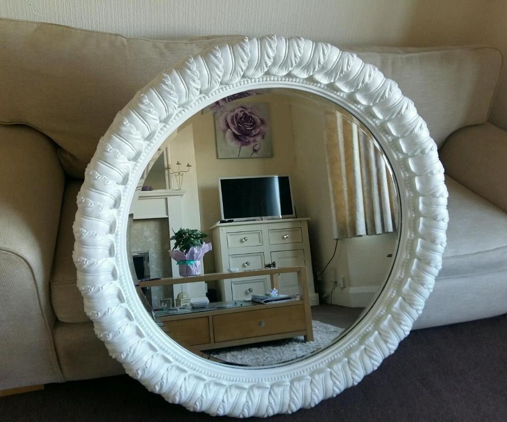 Stunning Large Ornate Shab Chic Round Mirror In Mansfield For Shabby Chic Round Mirror (View 12 of 15)