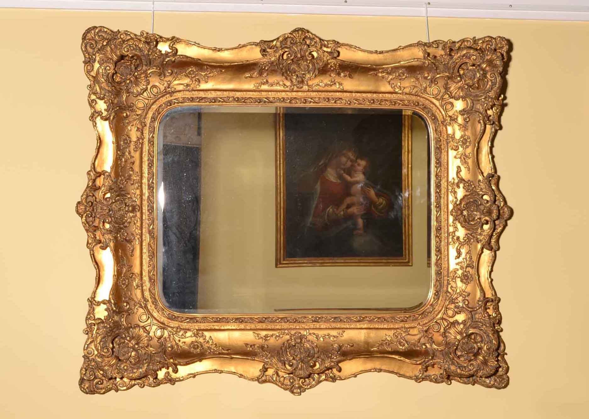 Stunning Large Rectangular Italian Gilded Mirror 132 X 165 Cm With Large Gilt Mirrors (Image 13 of 15)