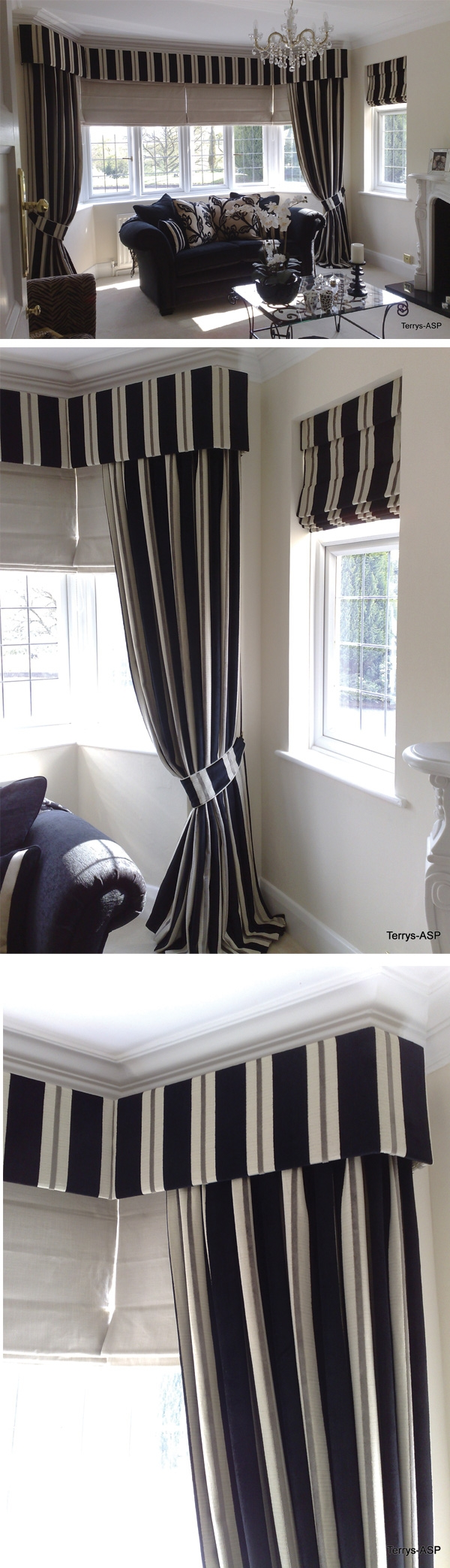 Stunning Striped Upholstered Pelmet Shaped Into A Bay Window With Within Curtains With Matching Roman Blinds (Image 13 of 15)