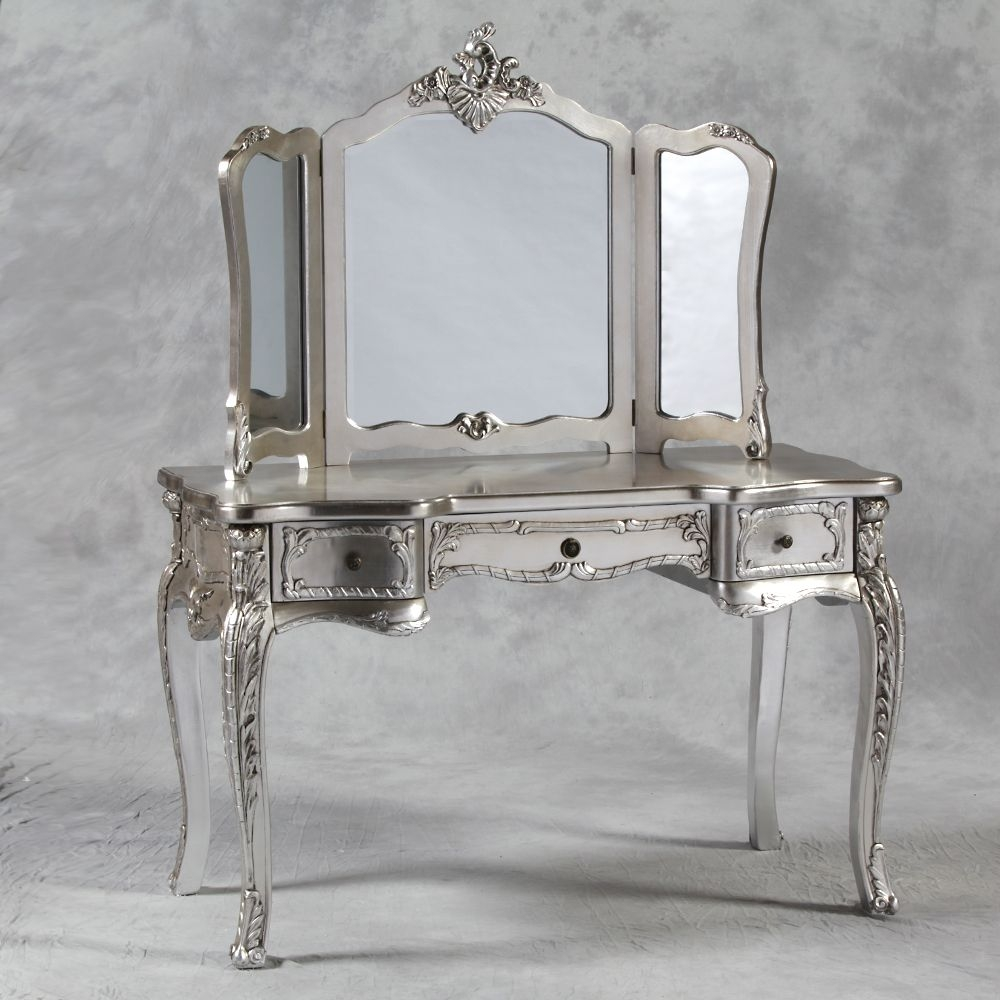 Style Dressing Table With Mirror In Cream Regarding Silver French Mirror (Image 14 of 15)