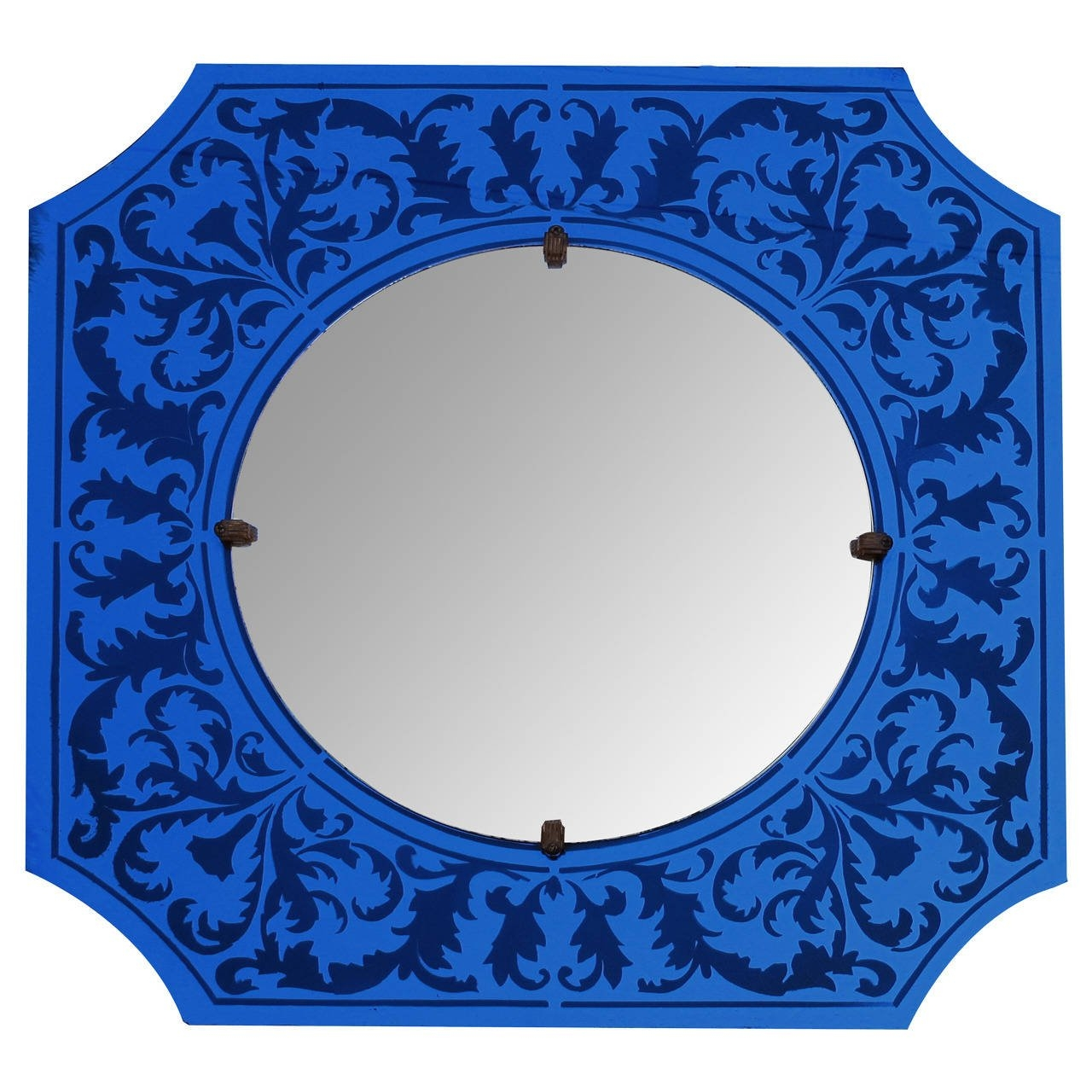 Stylish American Art Deco Bulls Eye Mirror With Etched Cobalt With Regard To Mirror With Blue Frame (Image 12 of 15)