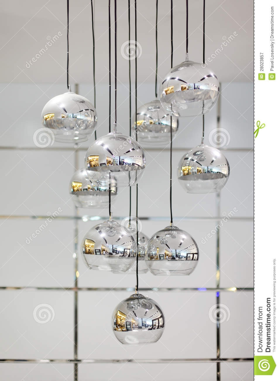 Stylish Chandelier With Round Mirror Shades Royalty Free Stock In Chandelier Mirror (Image 15 of 15)