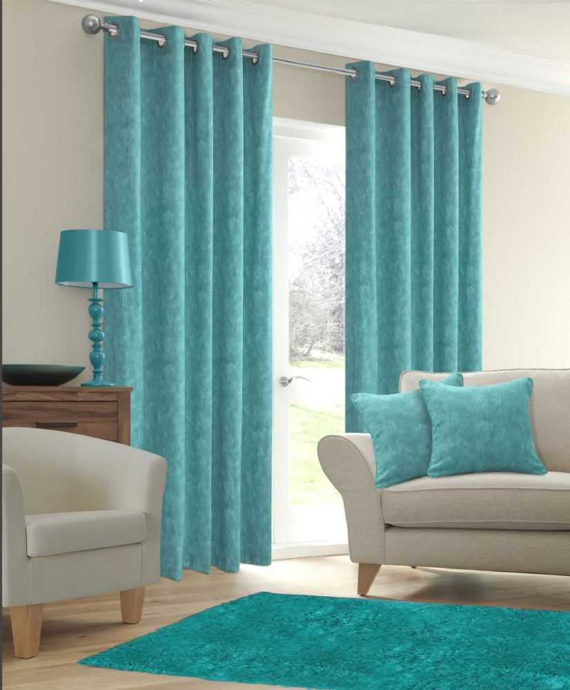Stylish Ringtop Eyelet Fully Lined Curtains Plain Cotton Fabric In Cotton Fabric For Curtains (Image 15 of 15)