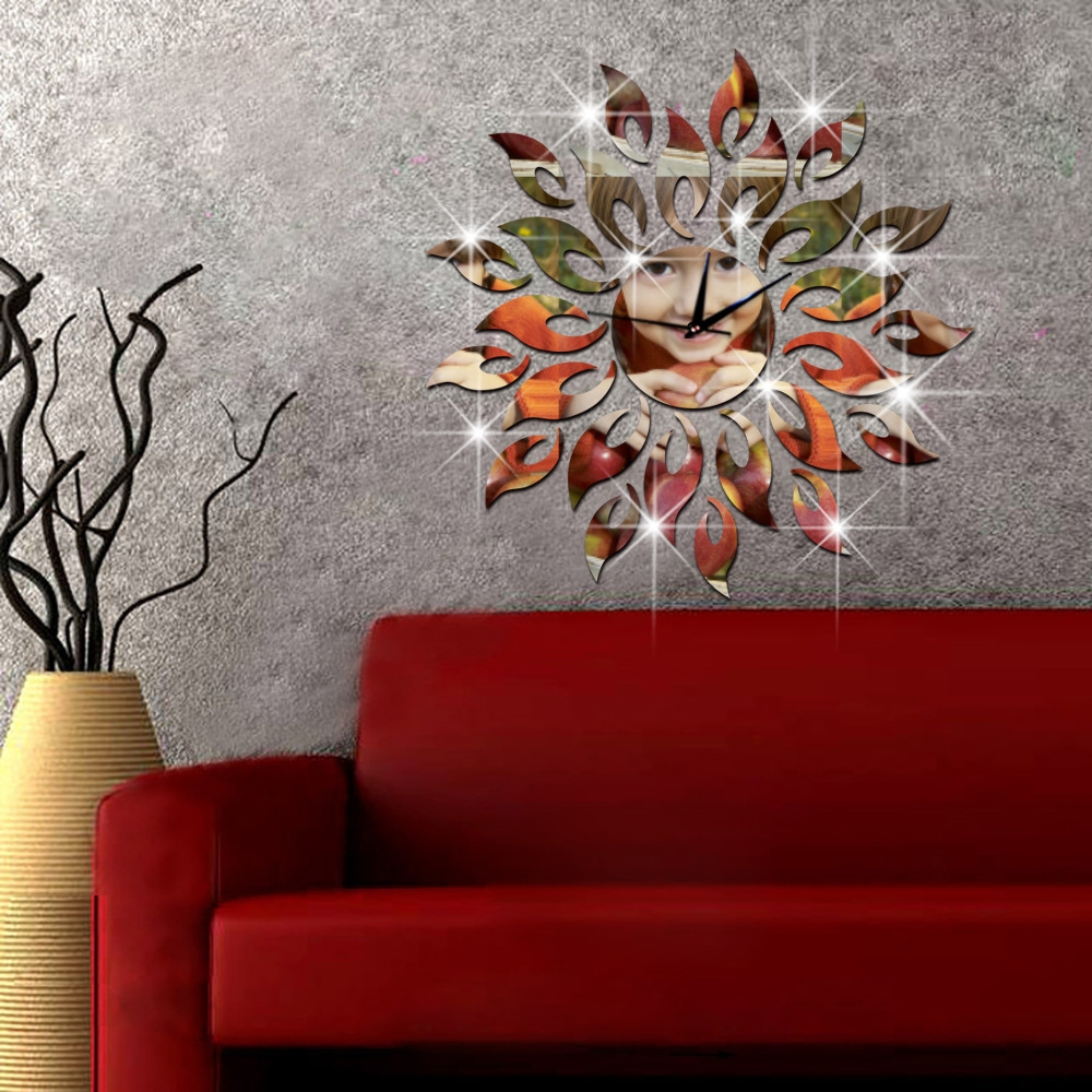 Sun Shaped Wall Clock For Room Decoration Wall Clocks Within Large Sun Shaped Mirror (Image 12 of 15)