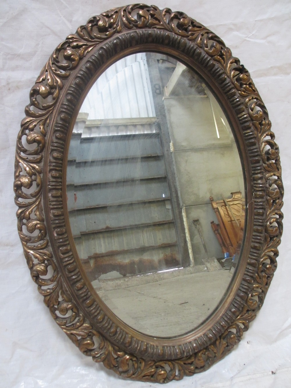 Superb 19th Century Gilt Wood And Gesso Pierced Floral Frame Oval Regarding Gilt Edged Mirrors (Image 13 of 15)