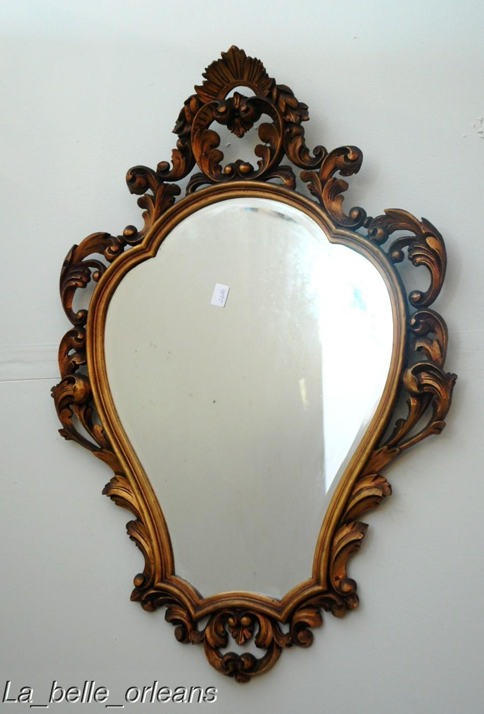 Superb Gilded French Mirror All Carved Wood Wow For Sale Intended For French Mirrors For Sale (Image 14 of 15)