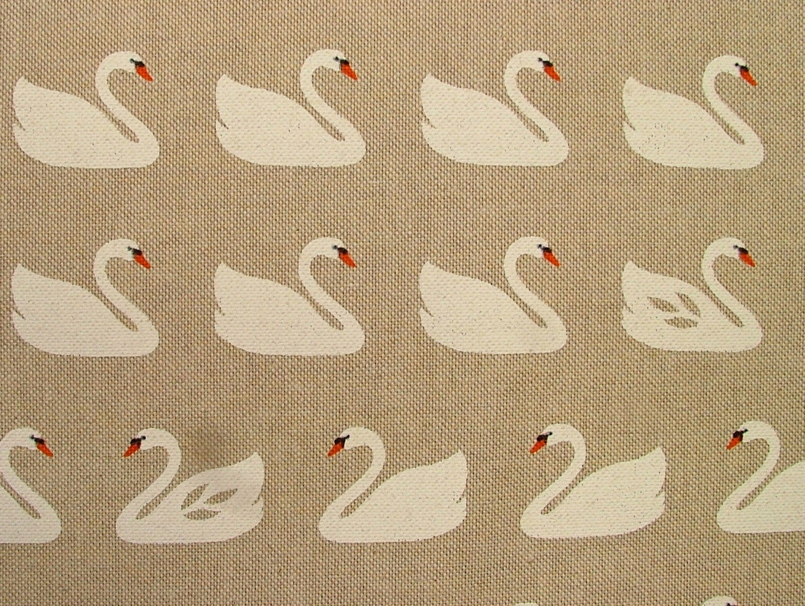 Swans On Natural Linen Look Fabric Curtain Upholstery With Regard To Natural Fabric Curtain (Image 14 of 15)