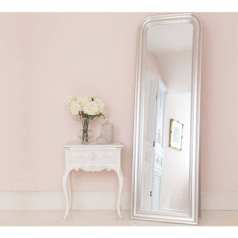 Sylvia Silver Large Mirror Wall Mirror Within Free Standing Silver Mirror (Image 15 of 15)