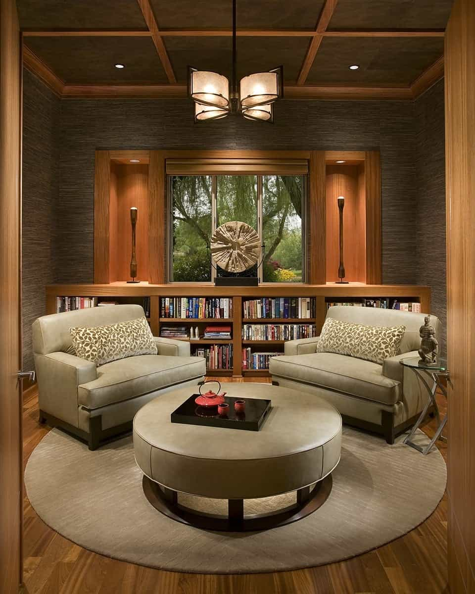 Featured Image of Symmetrical Design Modern Asian Inspired Sitting Room Interior