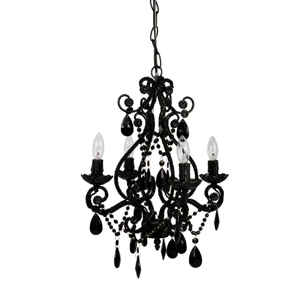 Tadpoles 4 Light Black Mini Chandelier Cchapl420 The Home Depot With Regard To Antique Black Chandelier (Image 12 of 15)