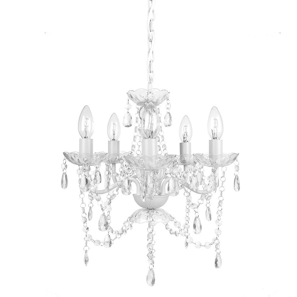 Tadpoles 5 Light Black Onyx Chandelier Cch5pl020 The Home Depot Pertaining To White Chandelier (Image 13 of 15)