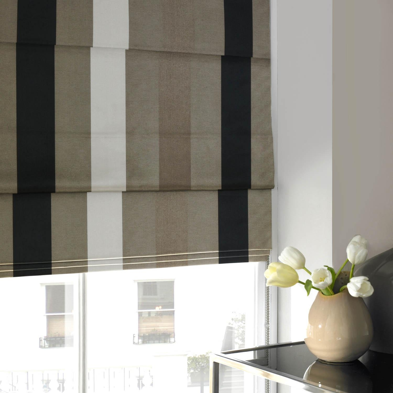 Taffeta Stripe Roman Blind Noir Free Uk Delivery Terrys Fabrics With Regard To Striped Roman Blinds (Image 15 of 15)