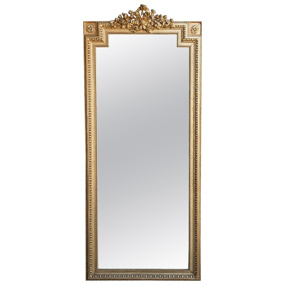 Tall Gold Louis Xvi Giltwood Full Length Mirror With Crown Of Pertaining To Full Length Gold Mirror (Image 14 of 15)