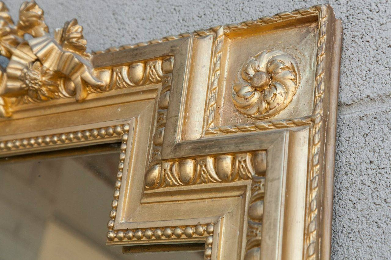 Tall Gold Louis Xvi Giltwood Full Length Mirror With Crown Of Regarding Full Length Gold Mirror (Image 15 of 15)