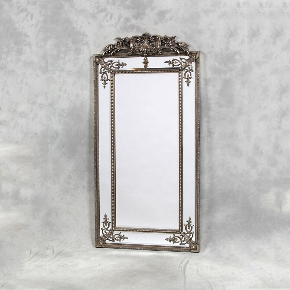 Tall Silver French Mirror With Crest Detail Best Sellers Online Intended For Silver French Mirror (Image 15 of 15)