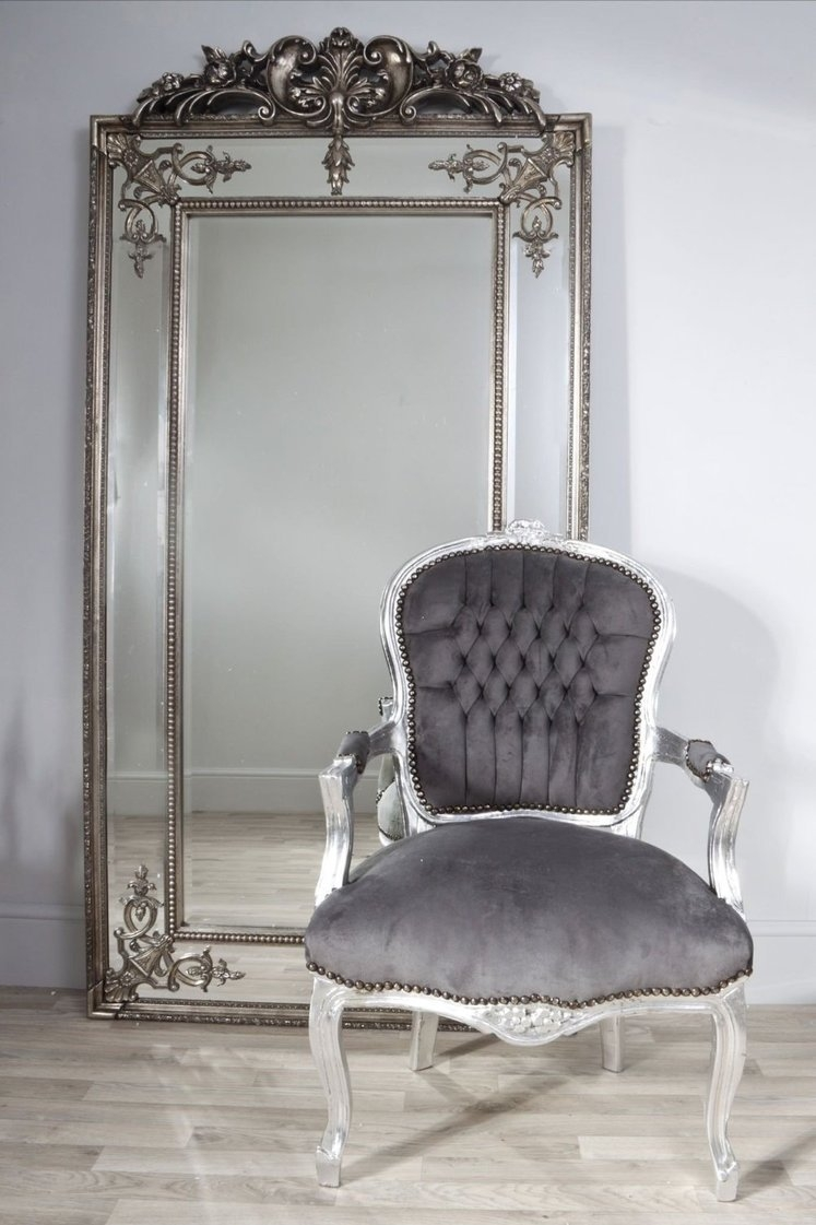 Tall Silverbronze Vintage Mirror From Dansk Pertaining To Large Antique Silver Mirror (View 10 of 15)